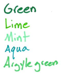 sharpie colors greens